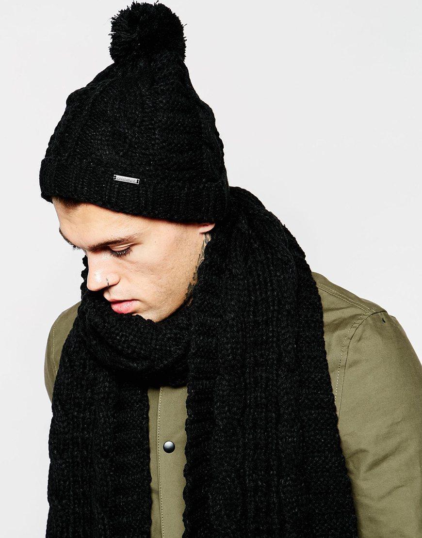 Lyst - DIESEL K-arly Bobble Beanie Hat in Black for Men 97ad53ef341
