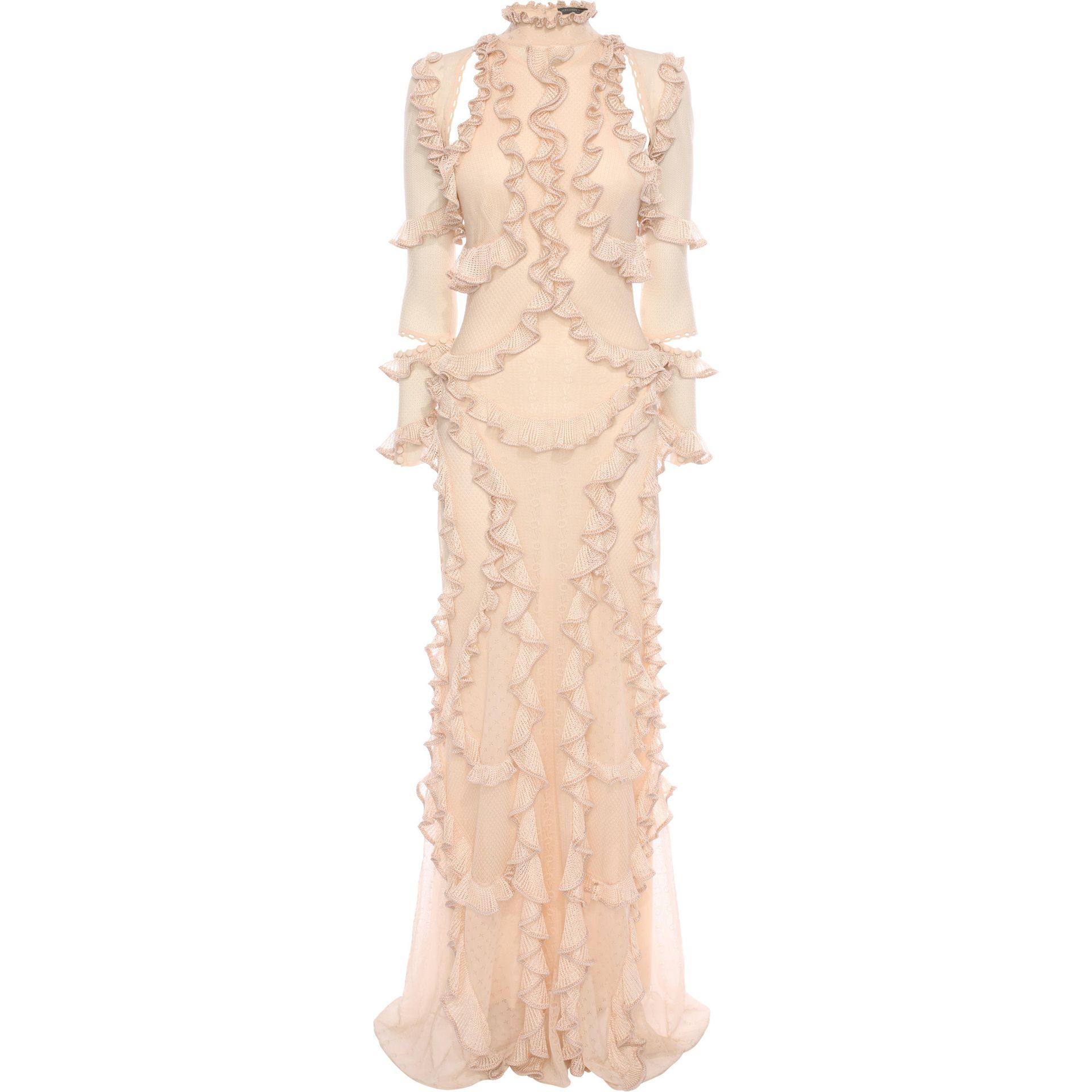Alexander mcqueen 3/4 Sleeve Ruffle Long Dress in Natural ...
