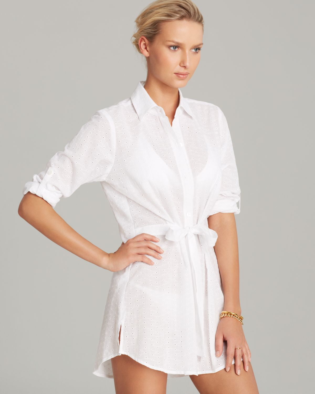 7e52c0ca1926e Lyst - Tommy Bahama Eyelet Covers Boyfriend Tie Shirt Swim Cover Up ...