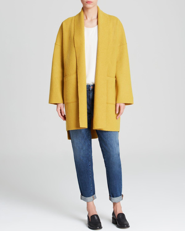 Eileen fisher Wool Kimono Coat in Yellow   Lyst