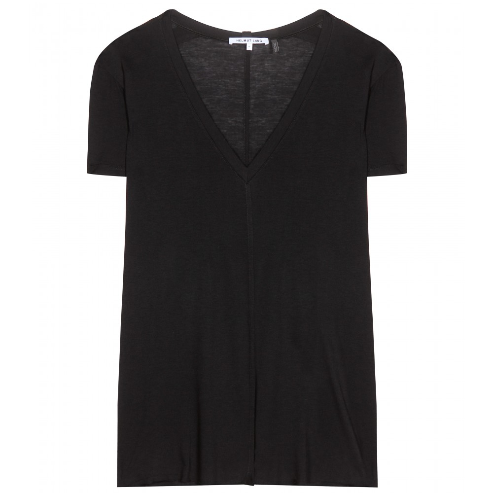 Lyst helmut lang v neck t shirt in black for Helmut lang tee shirts