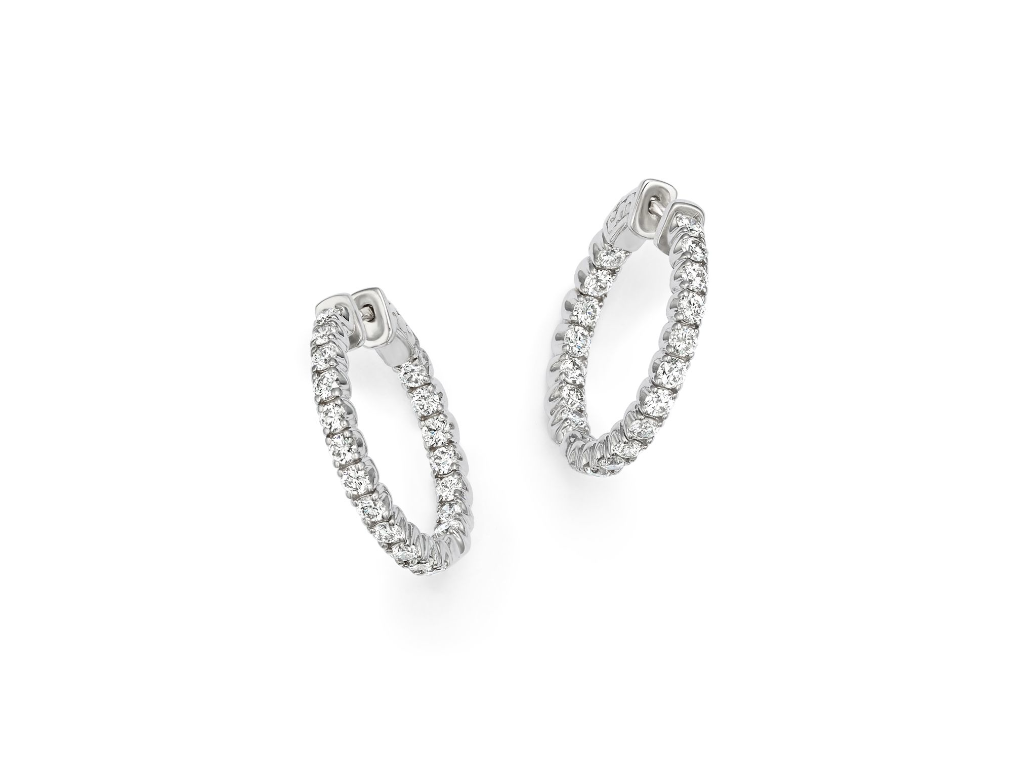 Kc designs Diamond Inside Out Hoop Earrings In 14k White Gold in