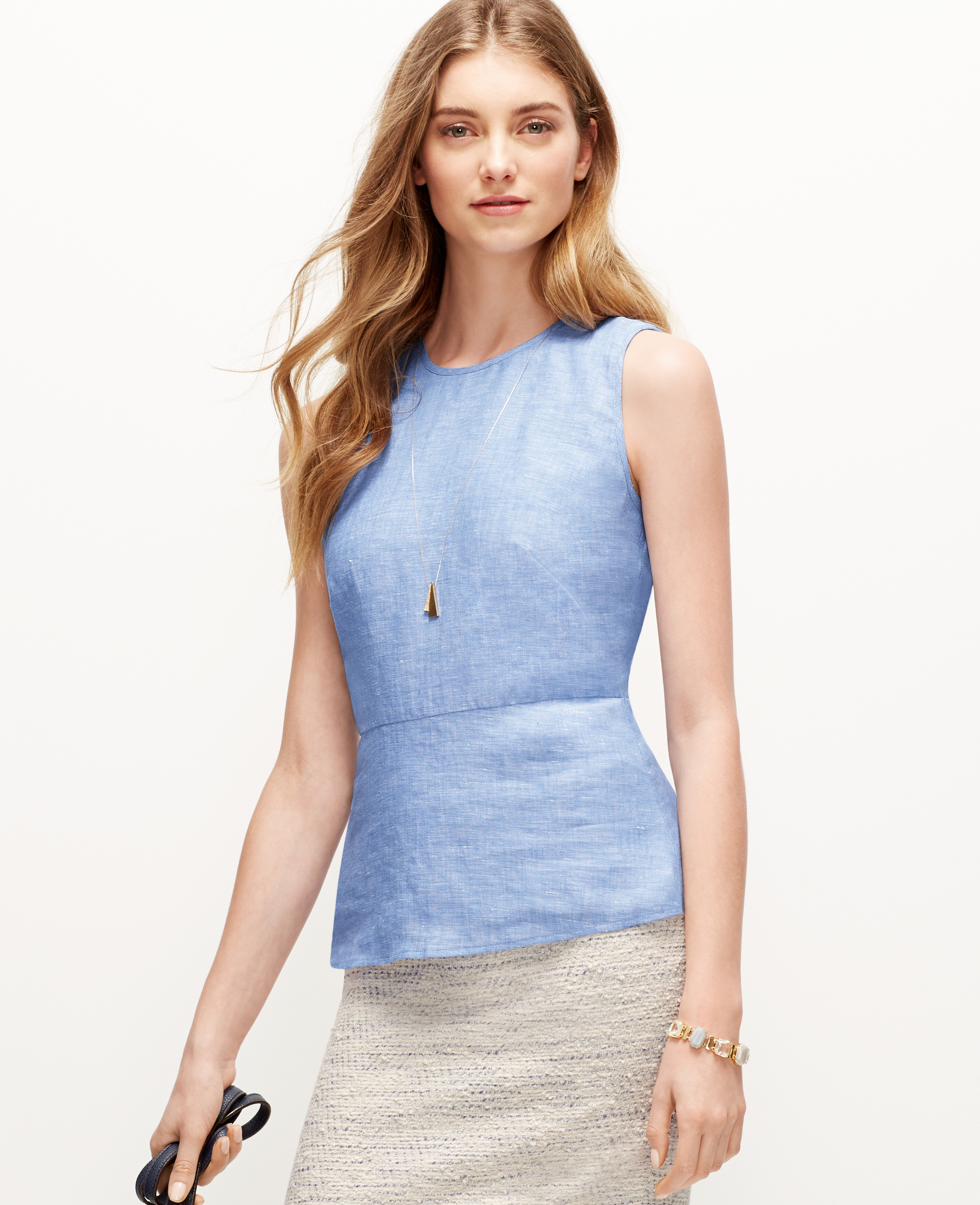 Lyst ann taylor linen chambray peplum top in blue for Chambray top