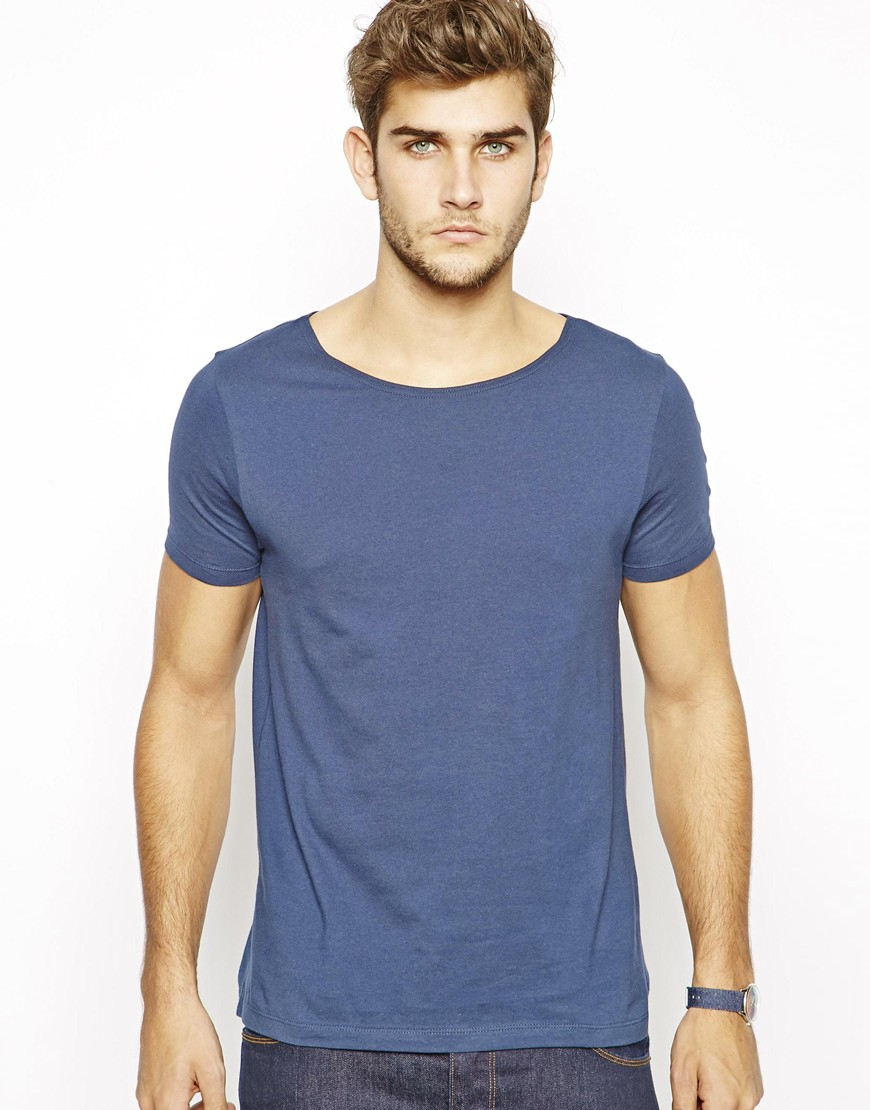 Asos T Shirt With Wide Boat Neck In Blue For Men Lyst