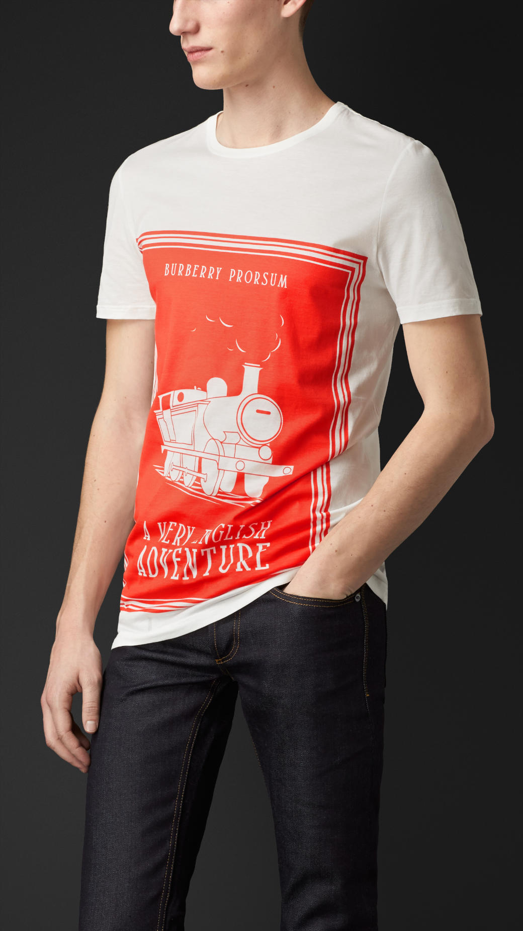 Book Cover White Jeans : Lyst burberry book cover print cotton t shirt in orange