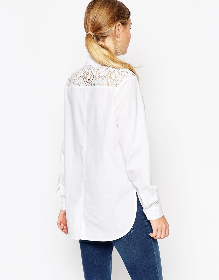 lyst asos lace insert white long sleeve shirt in white