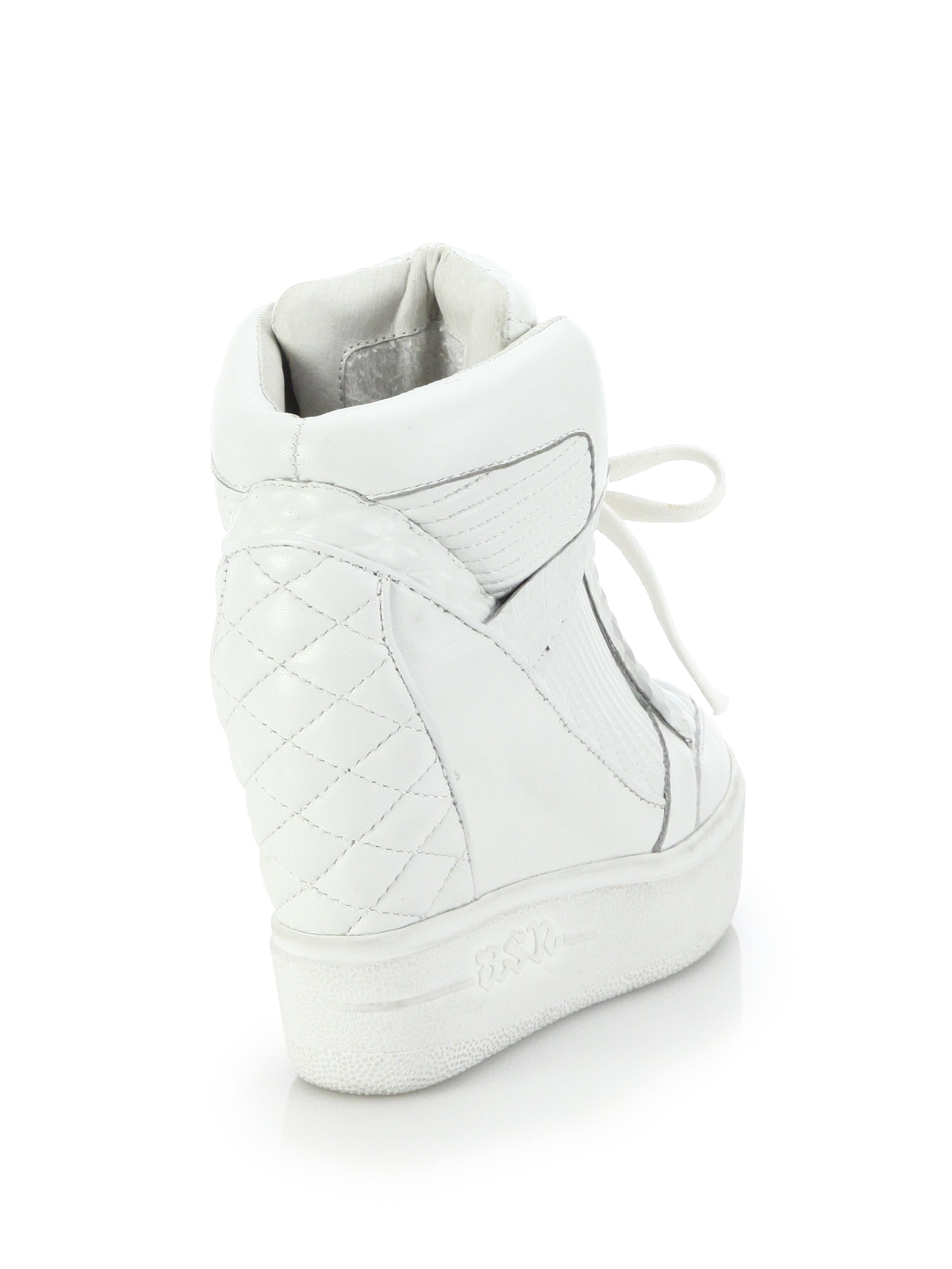 Lyst - Ash Azimut Quilted Leather Wedge Sneakers in White 2a30b213d
