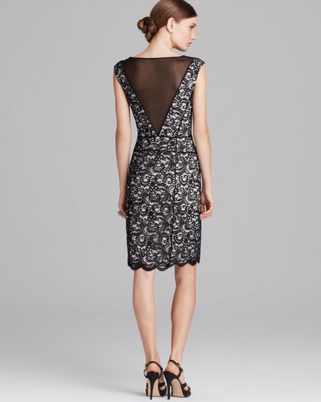 Vera Wang Dress Sleeveless Illusion Neckline Piped Lace