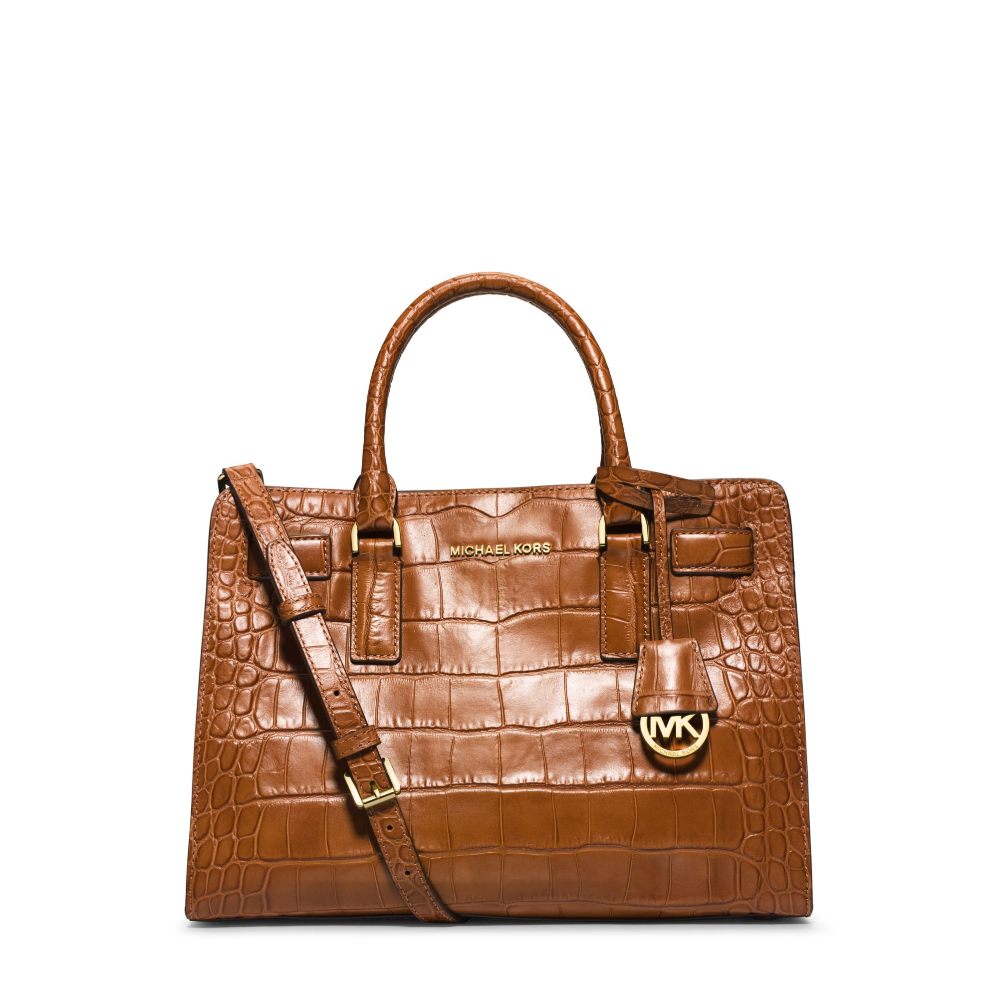 Michael Kors Laukkukoru : Michael kors dillon embossed leather satchel in brown lyst