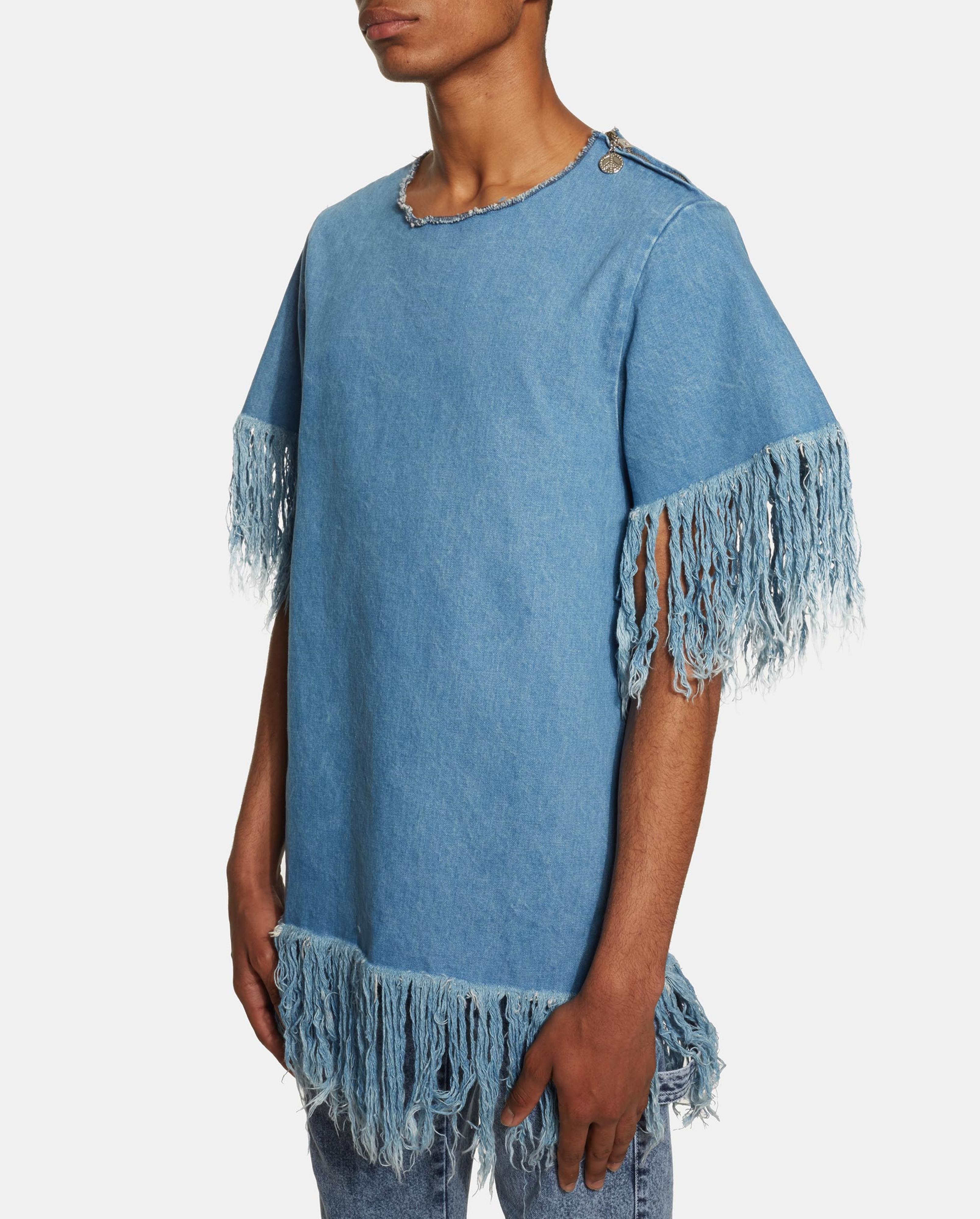 ambush denim fringe t shirt in blue for men lyst. Black Bedroom Furniture Sets. Home Design Ideas