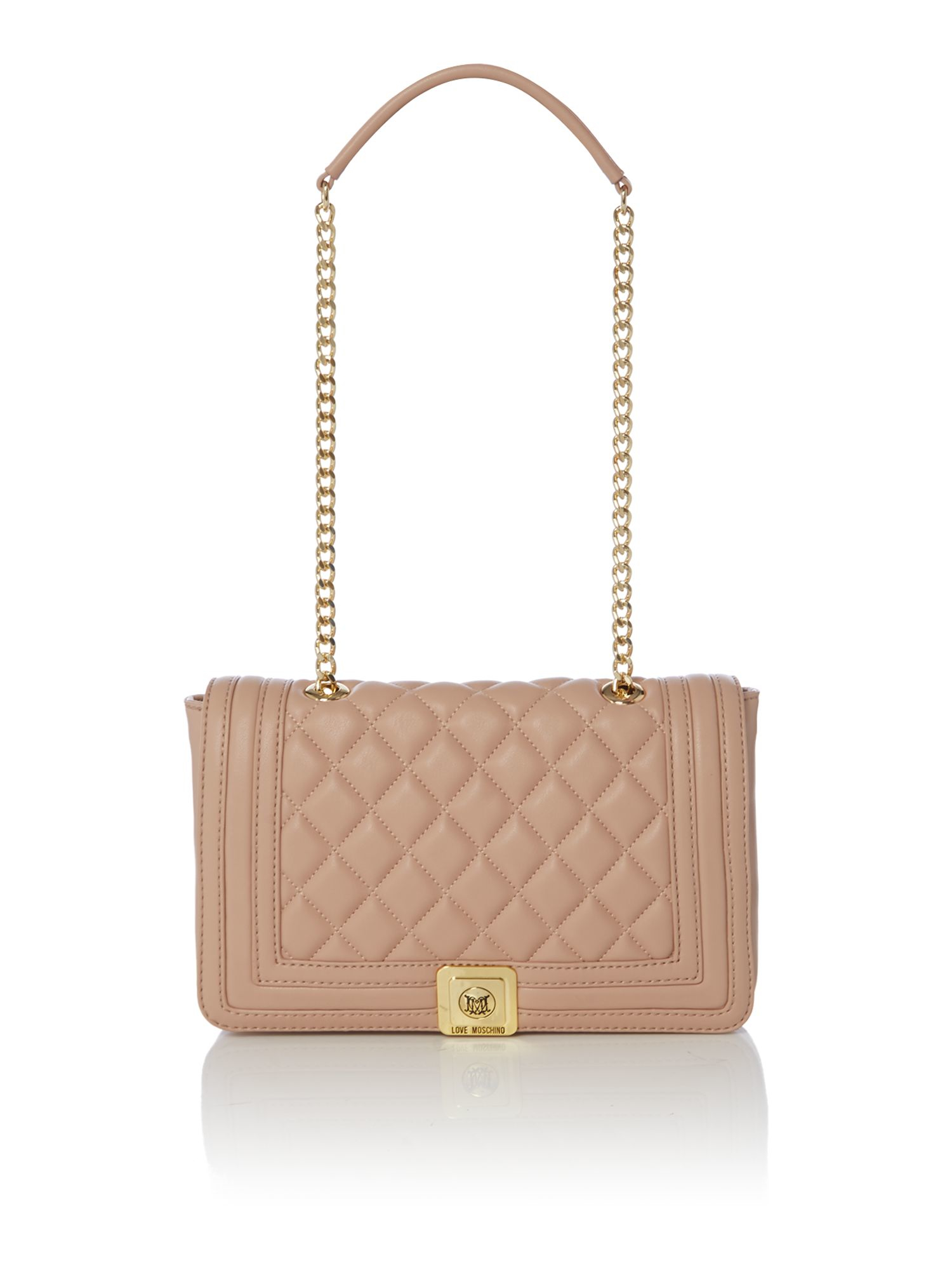 Love moschino Superquilt Pale Pink Shoulder Bag in Natural | Lyst