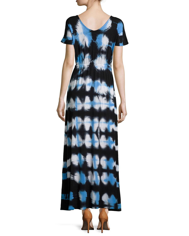 Lyst - Neiman Marcus Tie-dye Maxi Dress in Black
