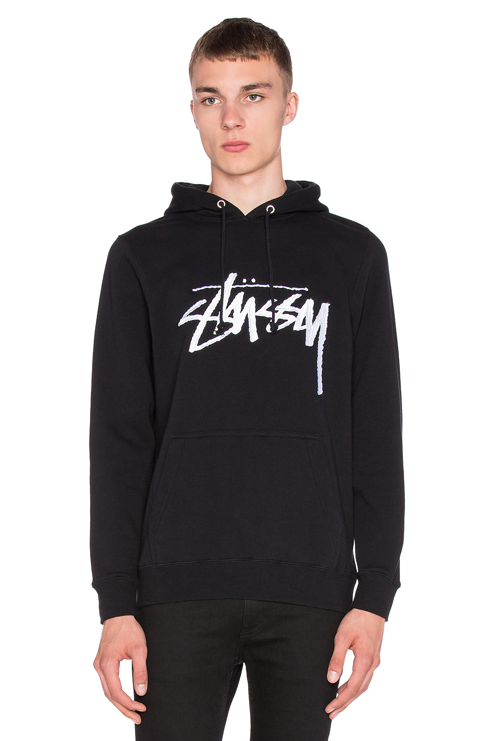 Stussy Stock Embroidered Hoodie In Black For Men Lyst