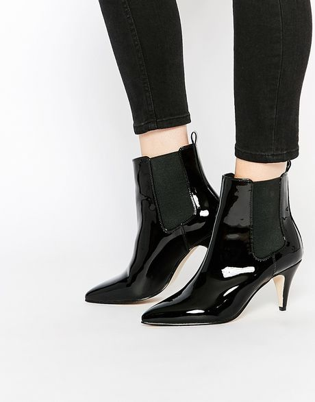 asos pointed kitten heel chelsea boots in black