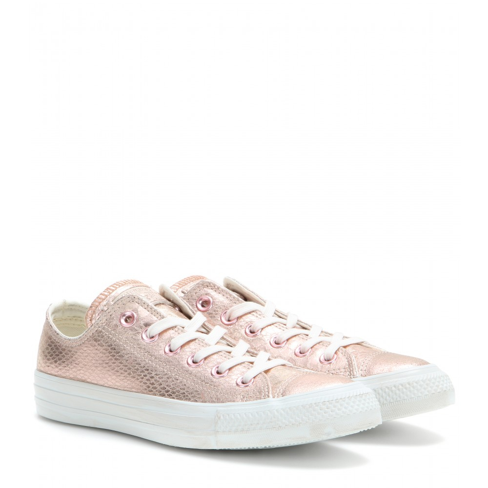 c2ad8d9de288 Lyst - Converse Chuck Taylor Ox Metallic Leather Sneakers in Pink
