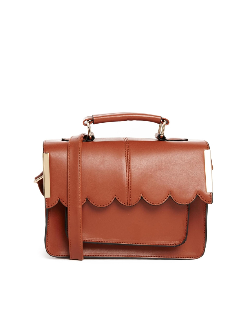 Asos Mini Satchel Bag With Scallop Bar Detail in Brown ...