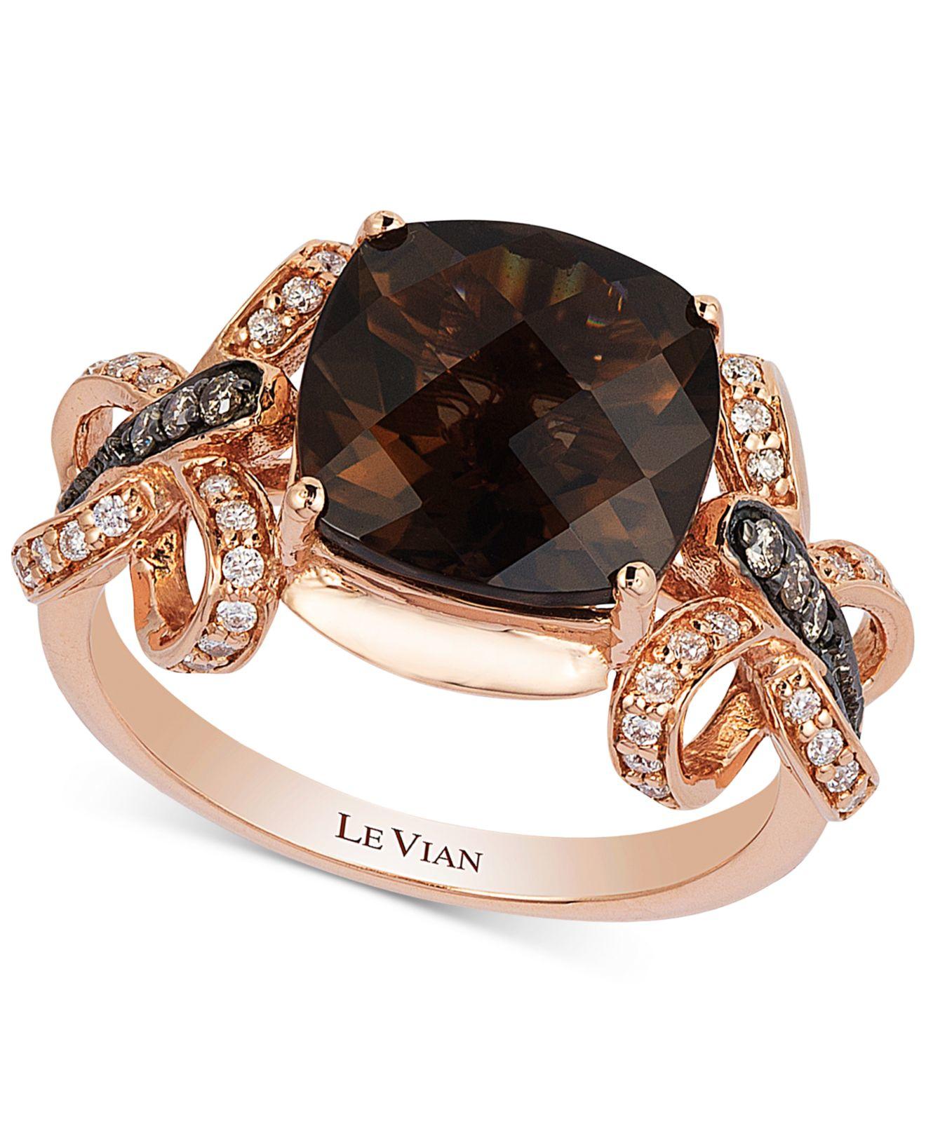 Smoky Quartz Chocolate Diamond Ring