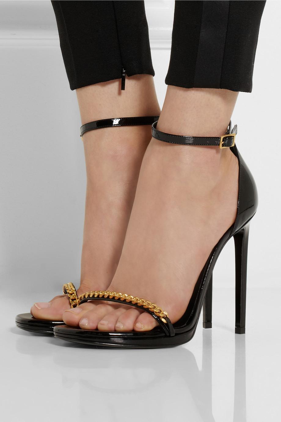 Lyst Saint Laurent Jane Chain Embellished Patent Leather