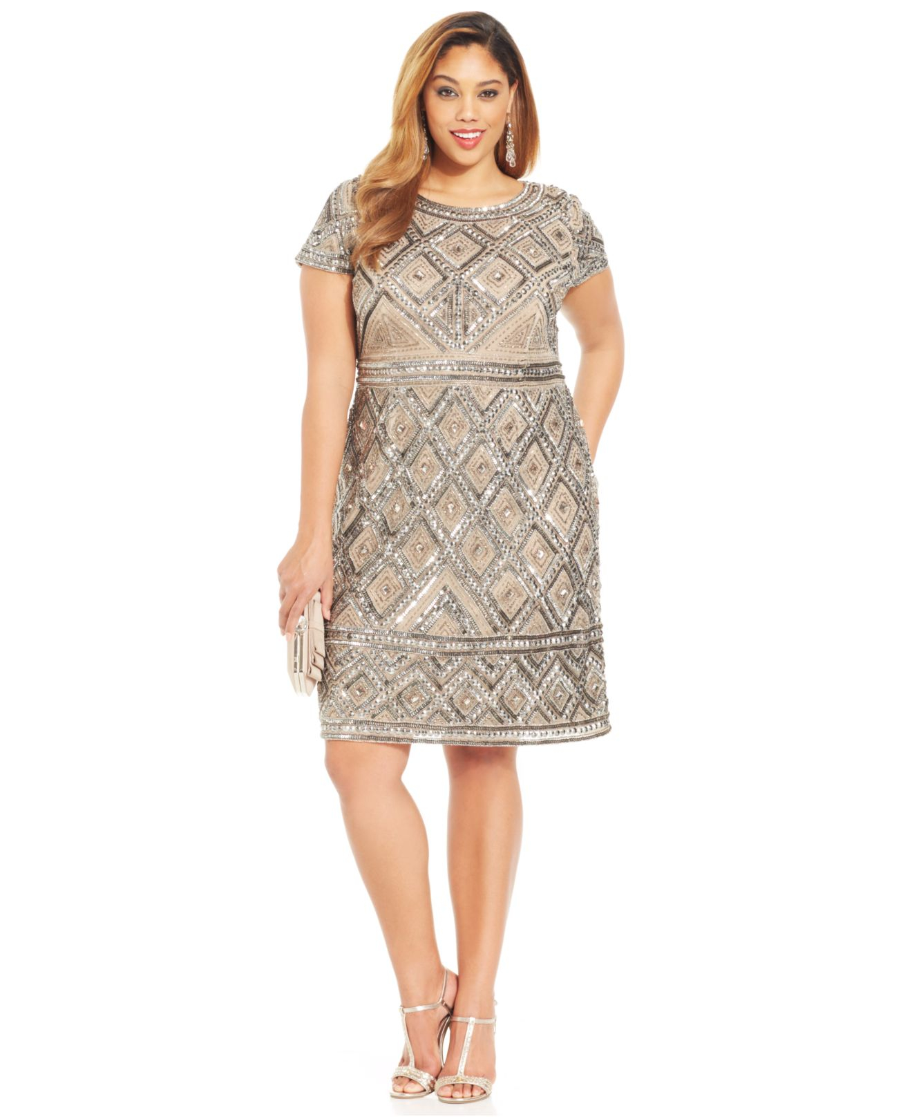 9277458fe Adrianna Papell Plus Size Short-Sleeve Beaded Sheath in Natural - Lyst
