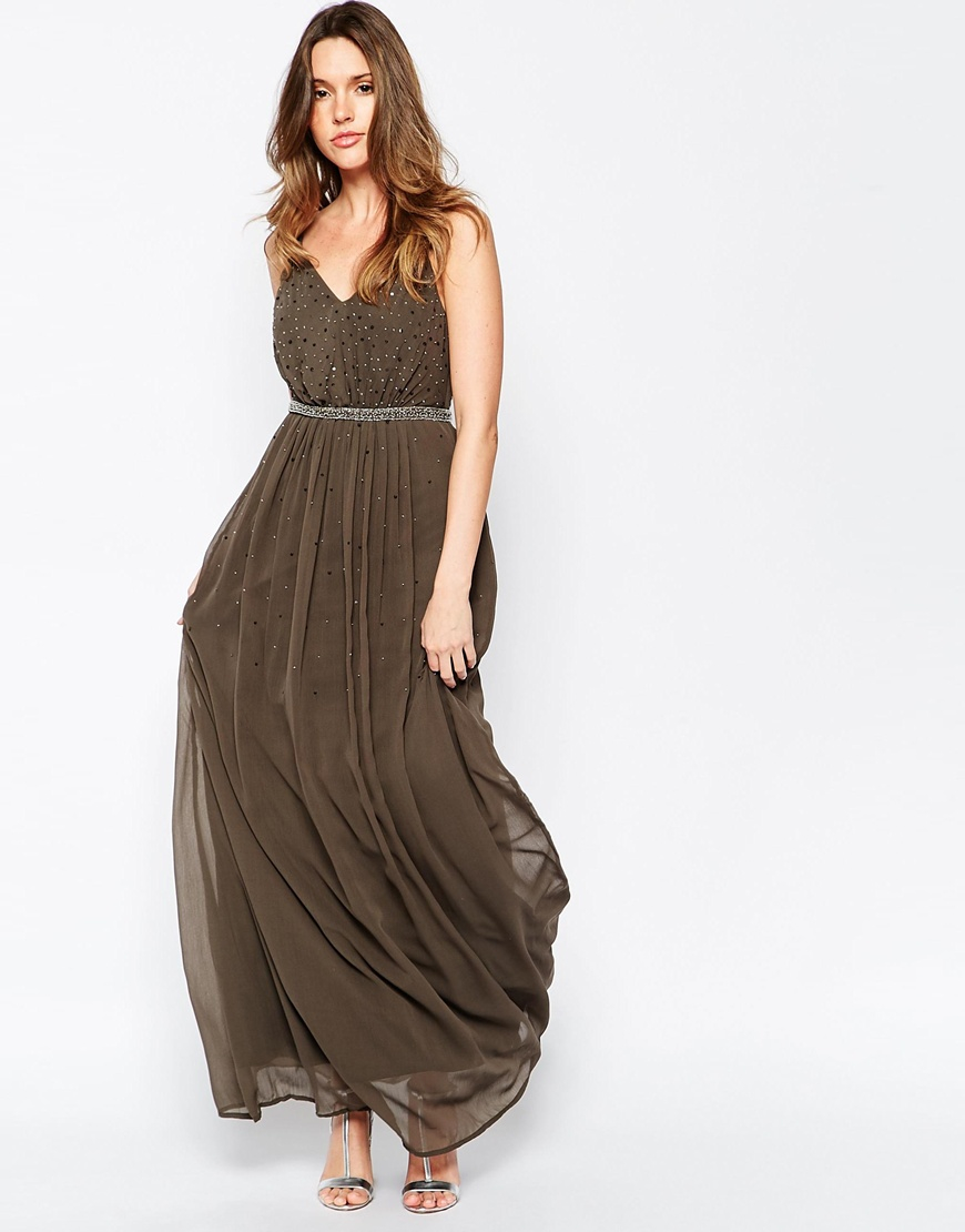 5f50a52bdc10 Lyst - Vila Maxi Dress With Embellished Detail in Natural