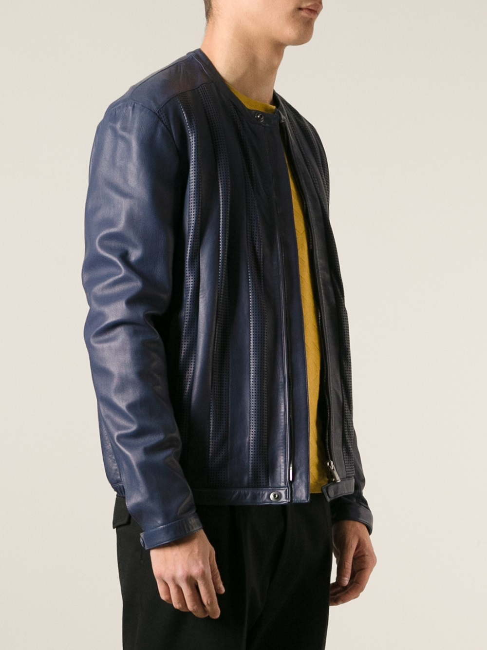 Fendi Perforated Leather Jacket in Blue for Men | Lyst