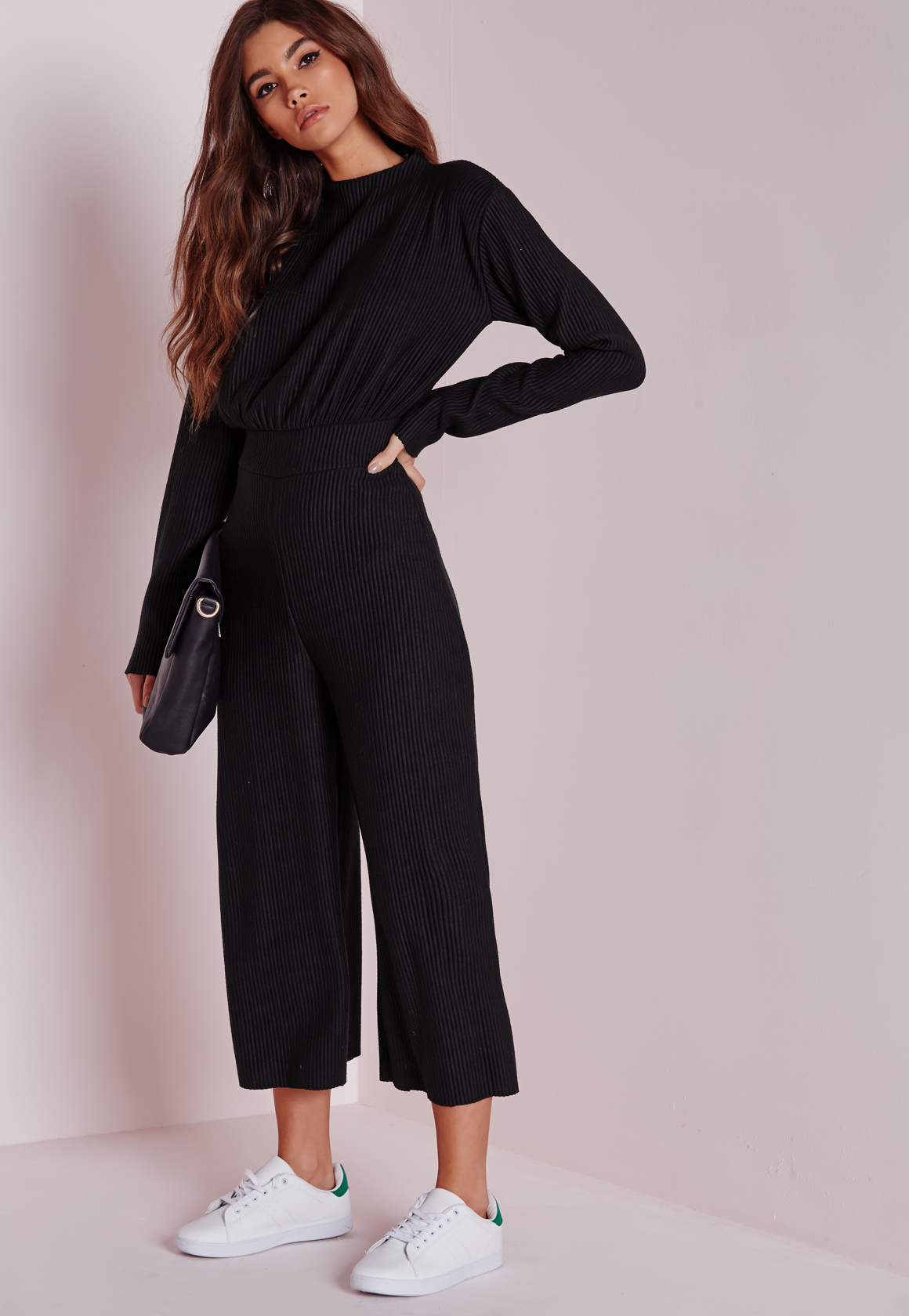 Missguided Long Sleeve Ribbed Culotte Jumpsuit Black in Black   Lyst