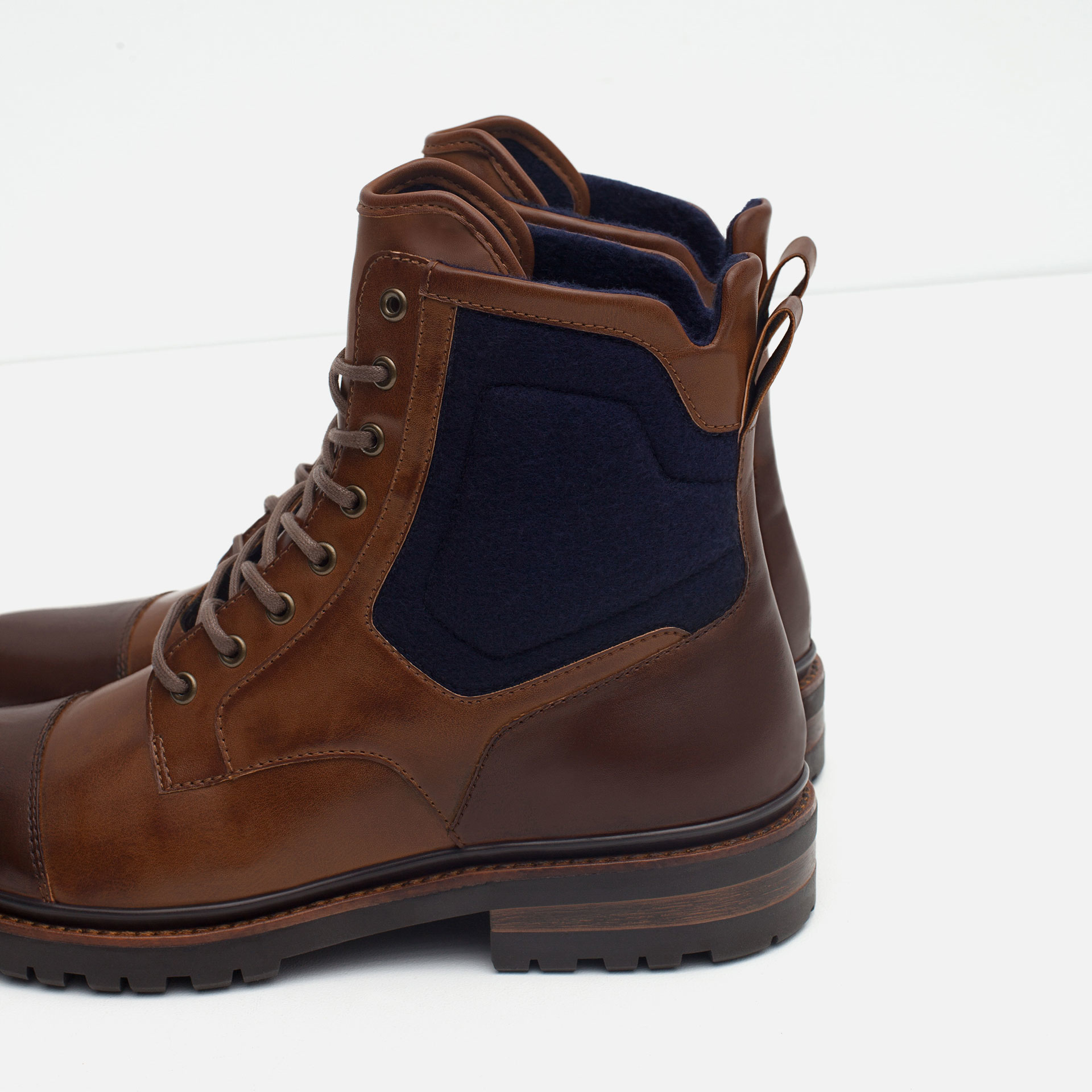 zara contrast boots with grip sole in brown for lyst