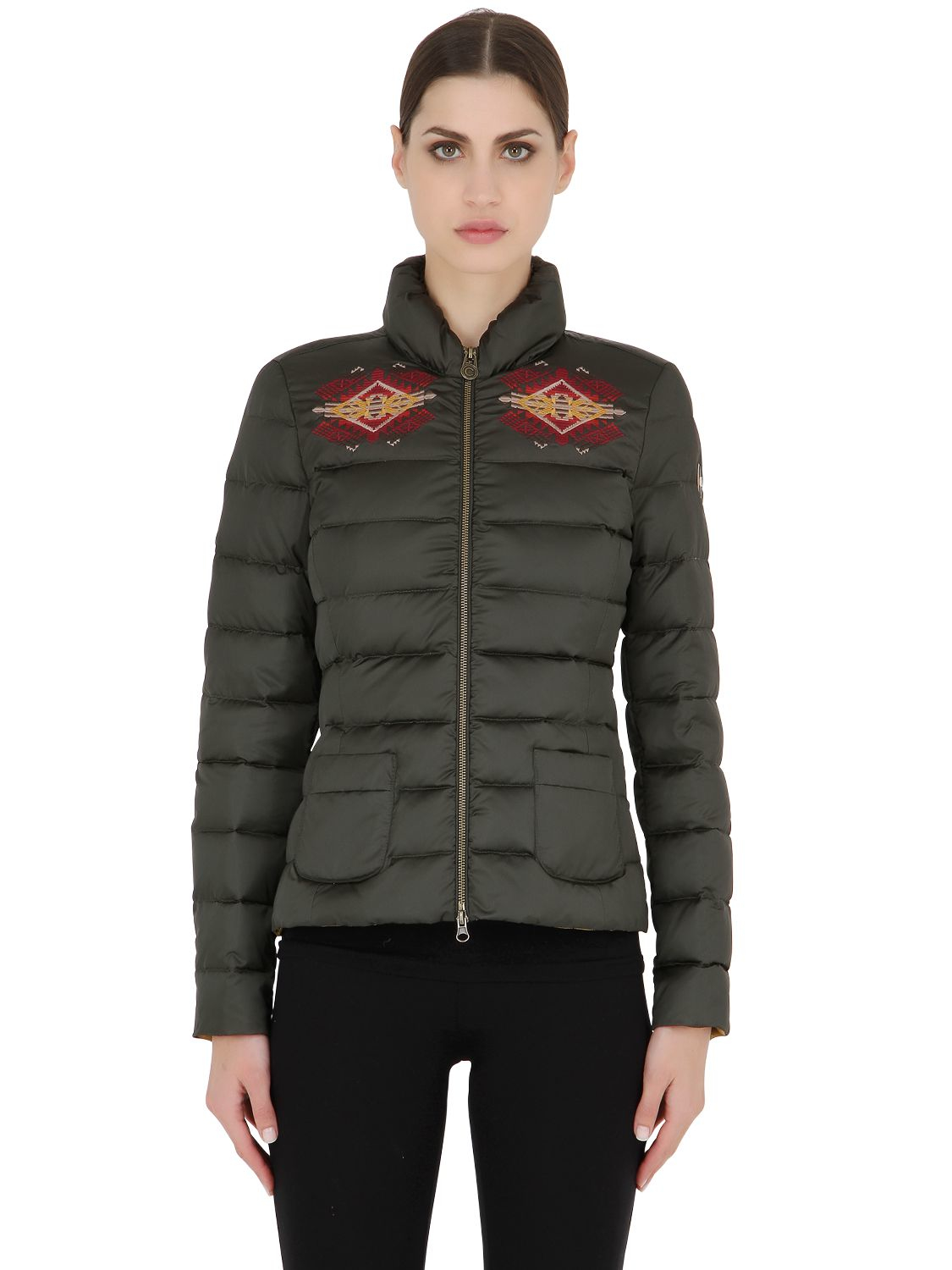 colmar embroidered nylon down jacket in green lyst. Black Bedroom Furniture Sets. Home Design Ideas