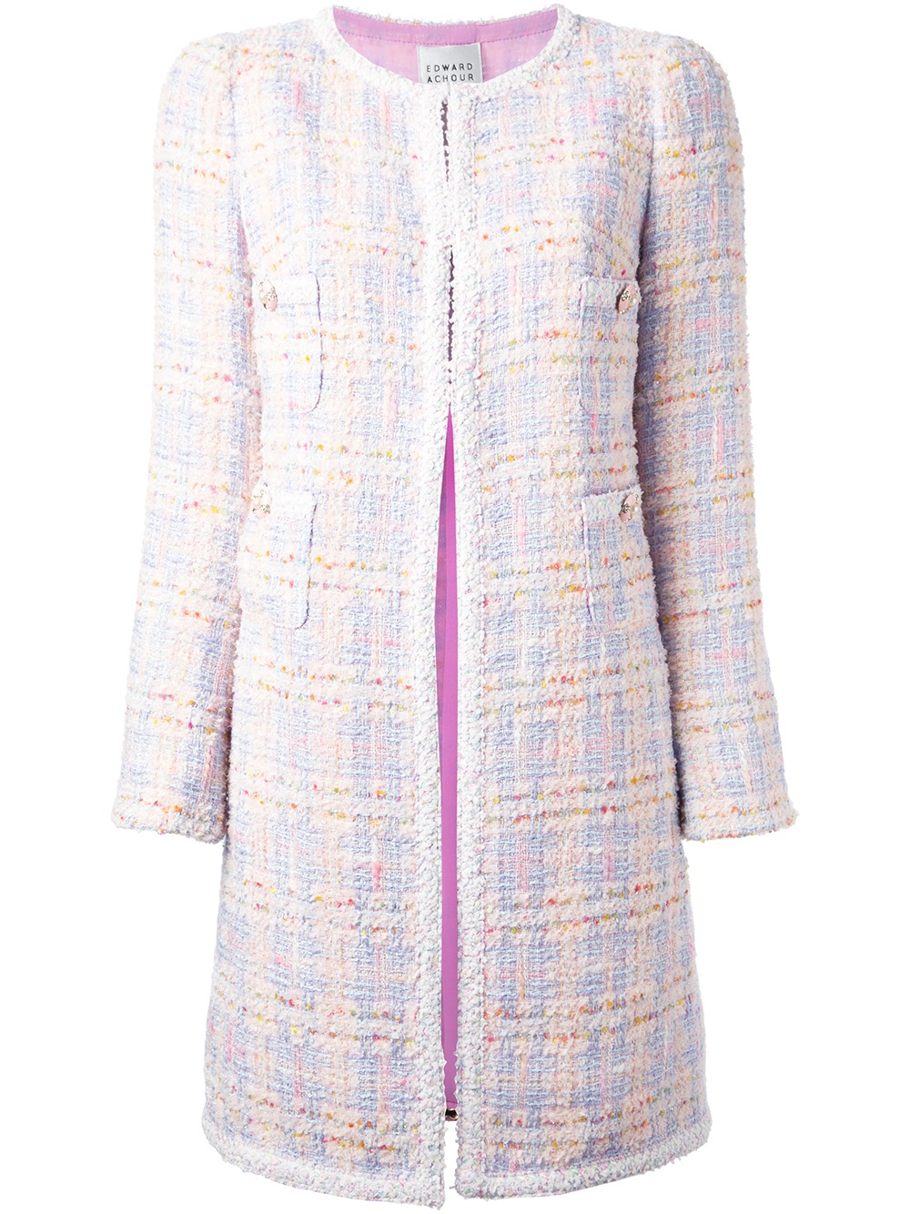 Edward achour paris Tweed Jacket in Purple | Lyst