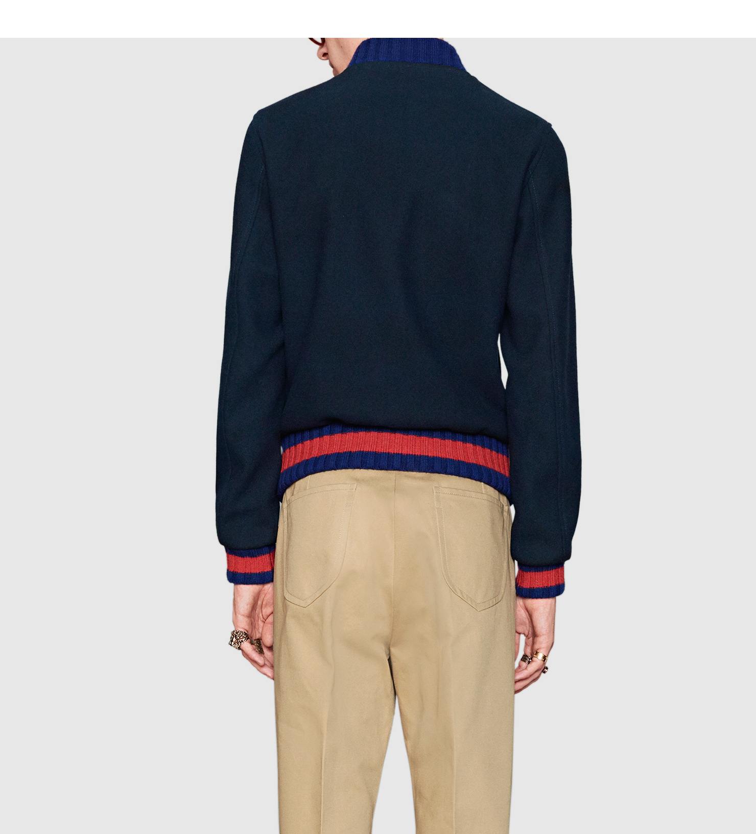 gucci wool bomber jacket with bee appliqué in blue for men lyst