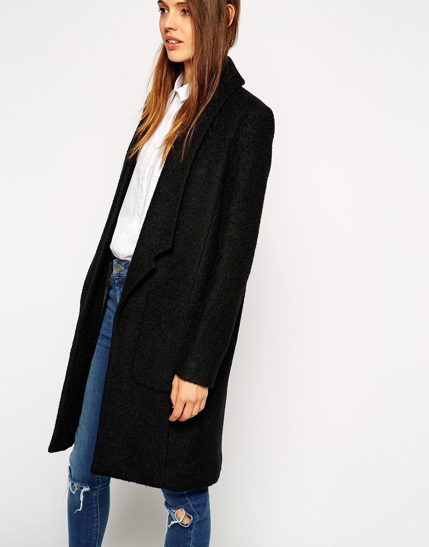 Asos Coat With Drop Collar In Textured Wool in Black   Lyst