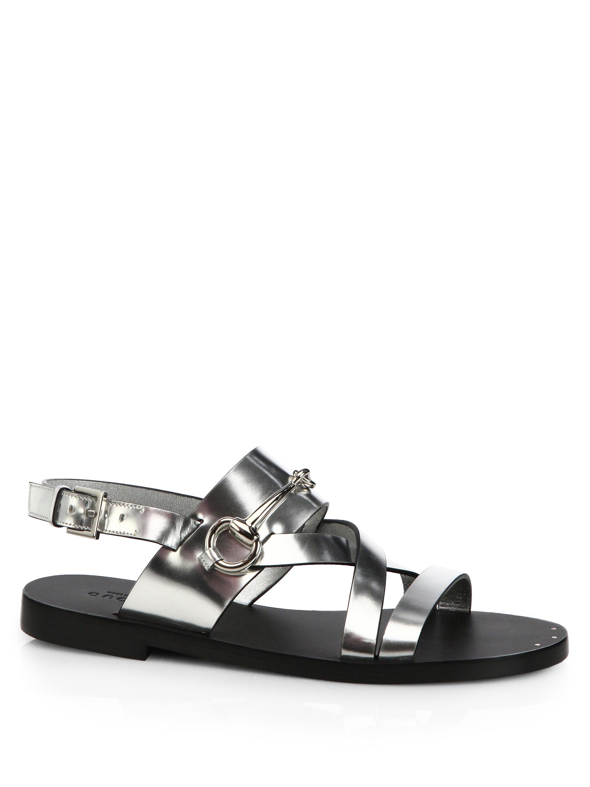 67b4f92d8a32 Lyst - Gucci Juliette Strappy Flat Sandals in Metallic