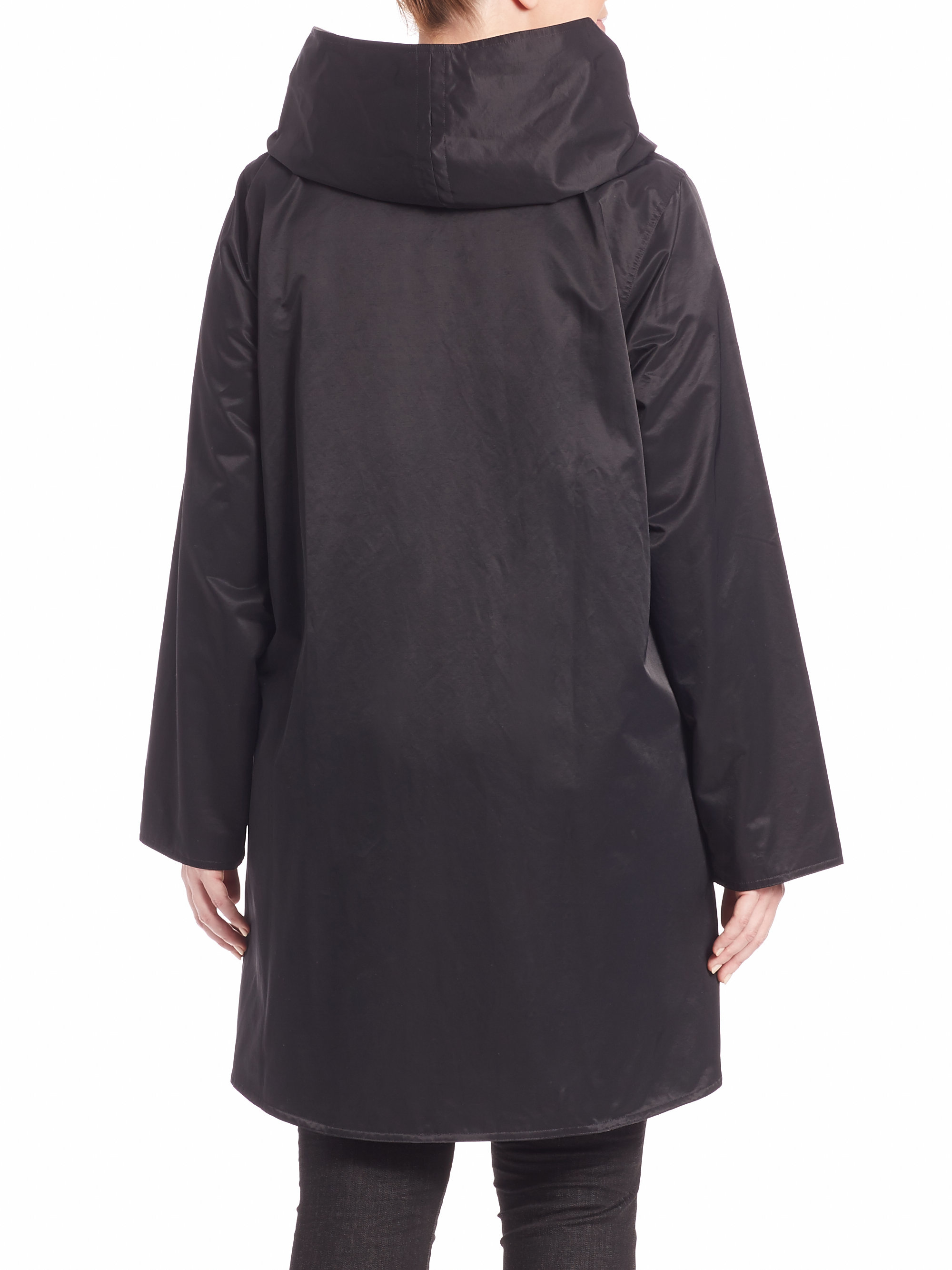 Lyst Eileen Fisher Reversible Hooded Coat In Black
