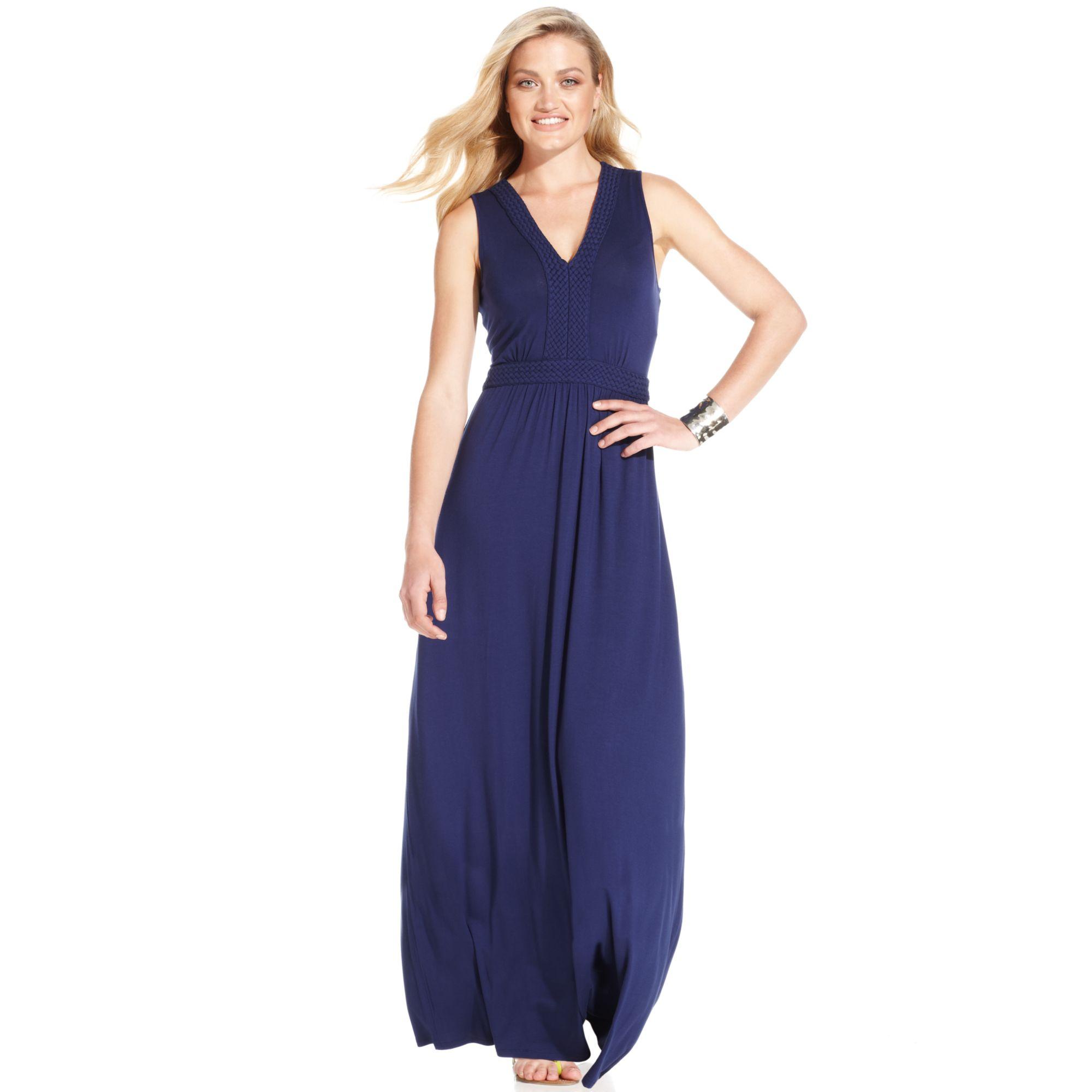 Lyst Spense Petite Sleeveless Braidedtrim Maxi Dress In Blue