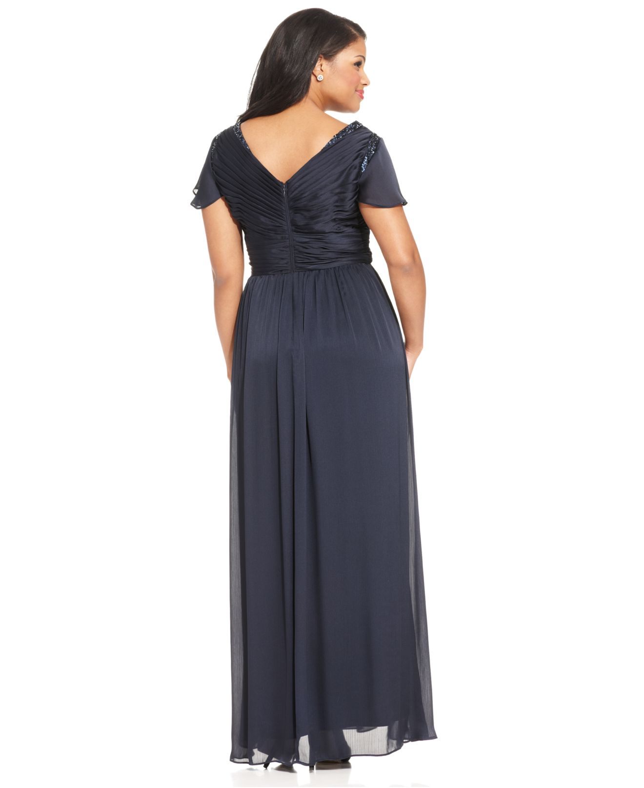 a37235608b9 Adrianna Papell Plus Size Flutter-sleeve Pleated Gown in Blue - Lyst