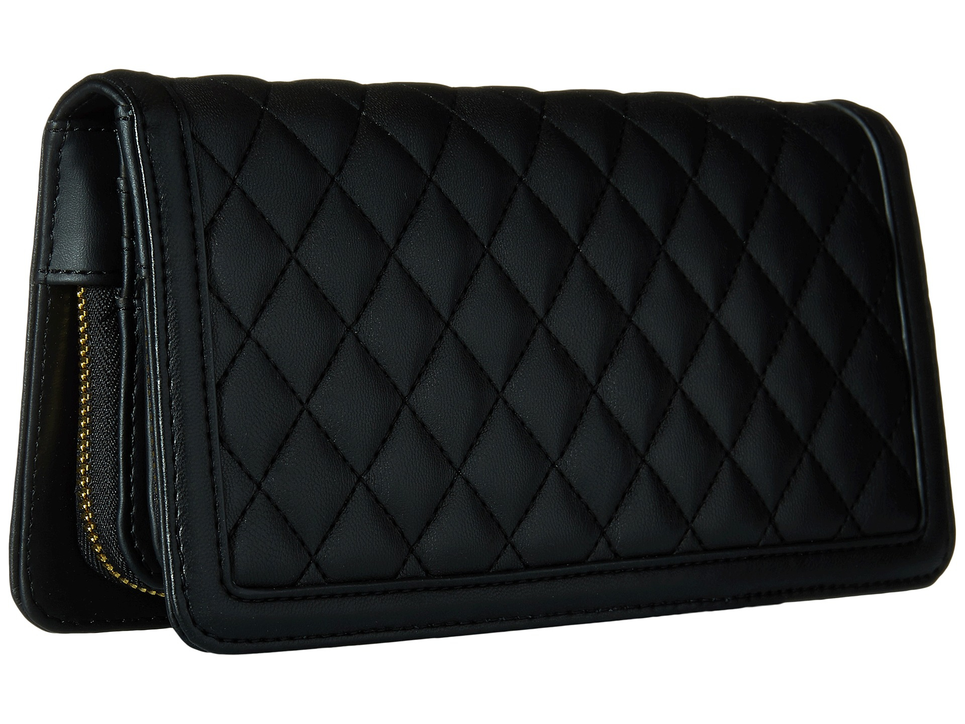 Love moschino Quilted Wallet On Chain in Black | Lyst : black quilted wallet - Adamdwight.com