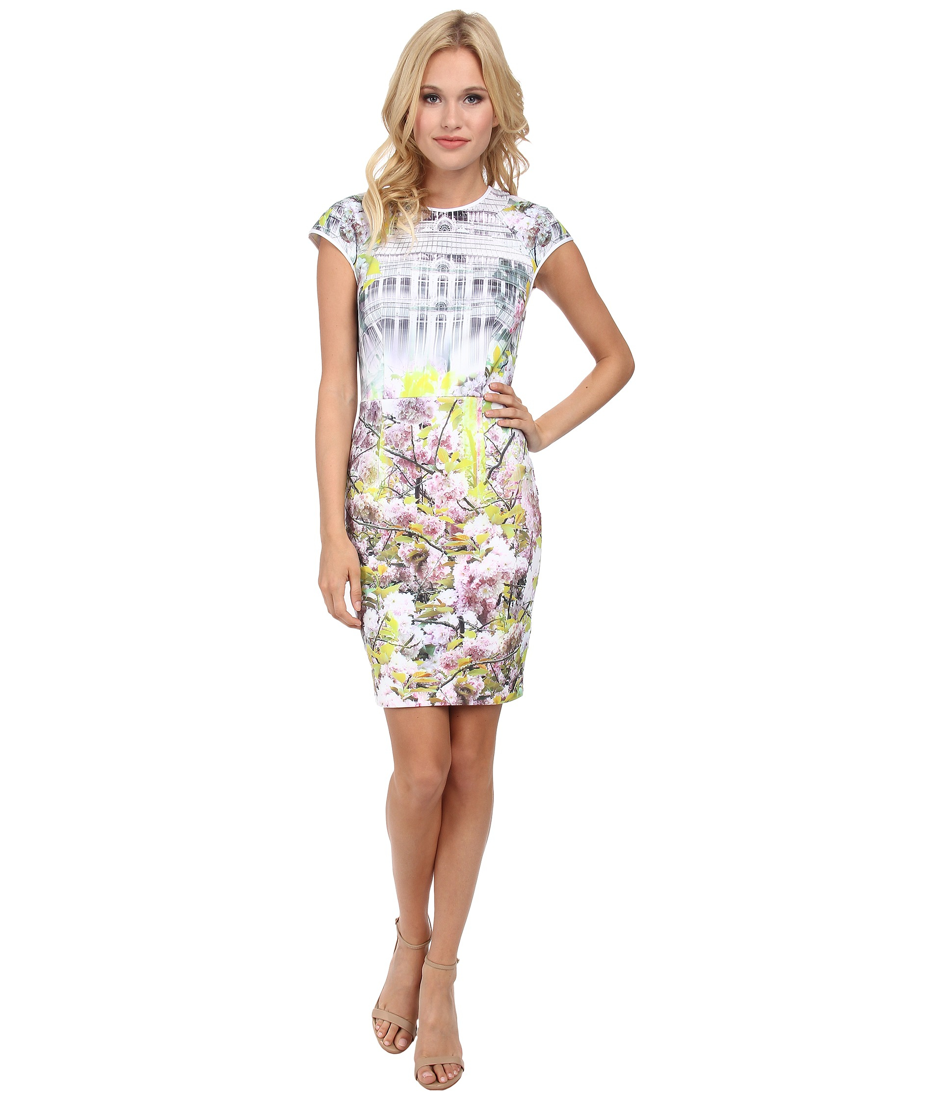 ac68709c8d8 Lyst - Ted Baker Pancha Window Blossom Fitted Dress in Purple
