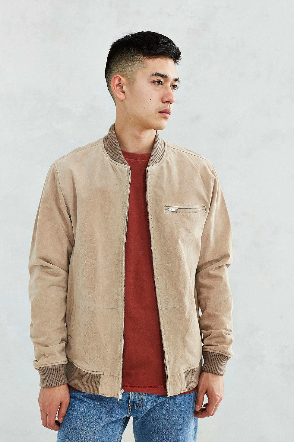Obey Bunker Suede Bomber Jacket in Brown for Men | Lyst