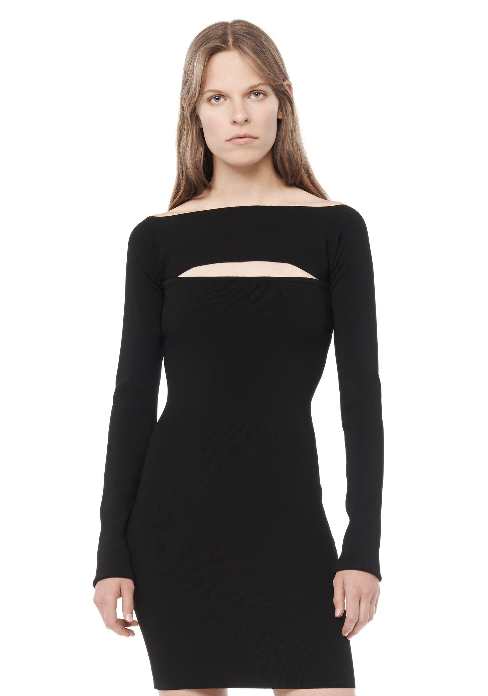 t by alexander wang long sleeve bandeau dress in black lyst. Black Bedroom Furniture Sets. Home Design Ideas