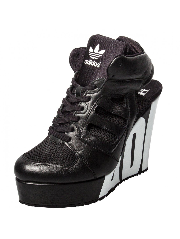 16a95b33253 Jeremy Scott for adidas Streetball Platform Logo Wedge Black in ...