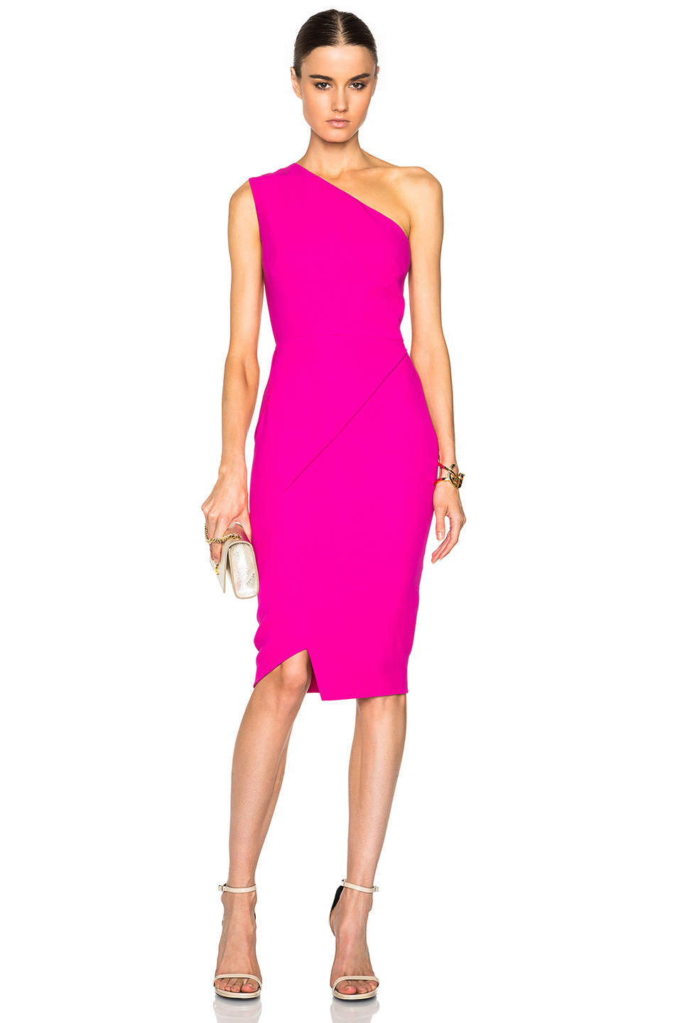 Victoria beckham Double Crepe Asymmetric Panel Fitted Dress in ...