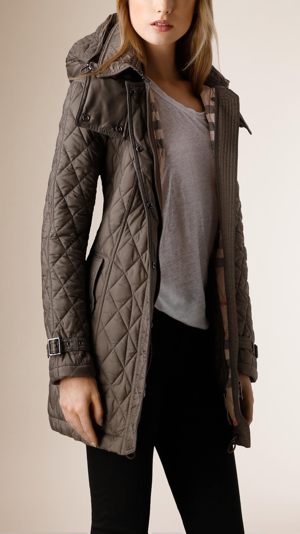 Lyst - Burberry Diamond Quilted Coat in Gray : burberry quilted belted jacket - Adamdwight.com
