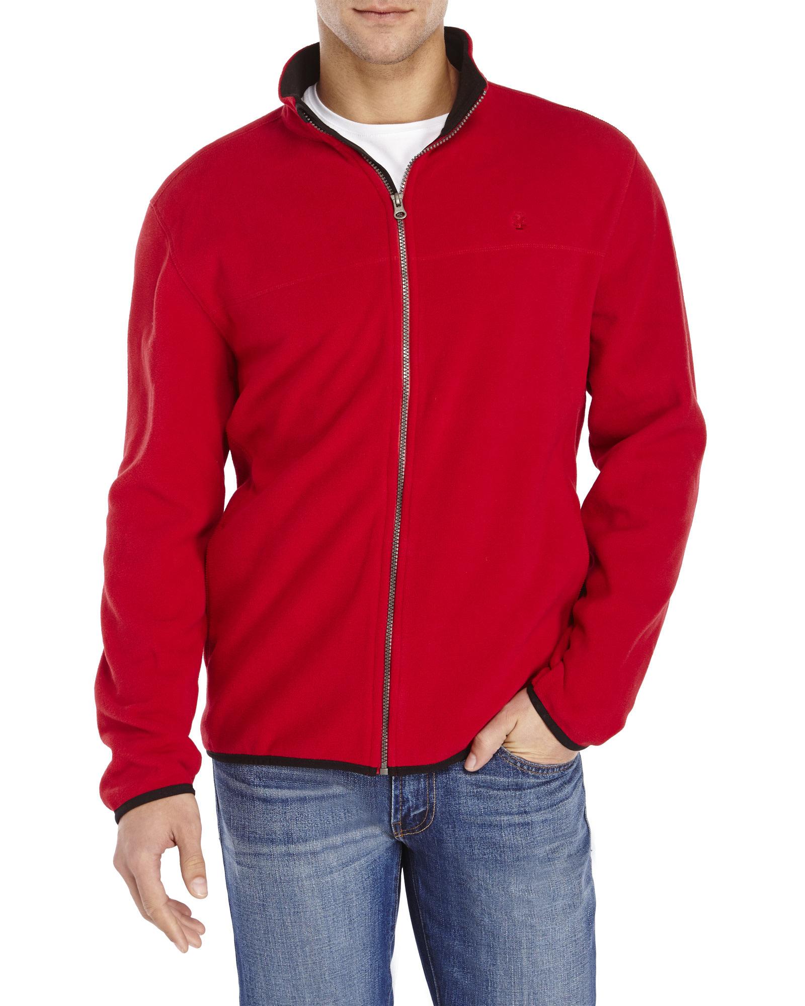 Izod Performance Polar Fleece Jacket in Red for Men | Lyst