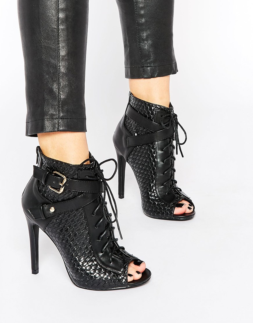 Daisy street Black Lace Up Peep Toe Shoe Boots in Black | Lyst