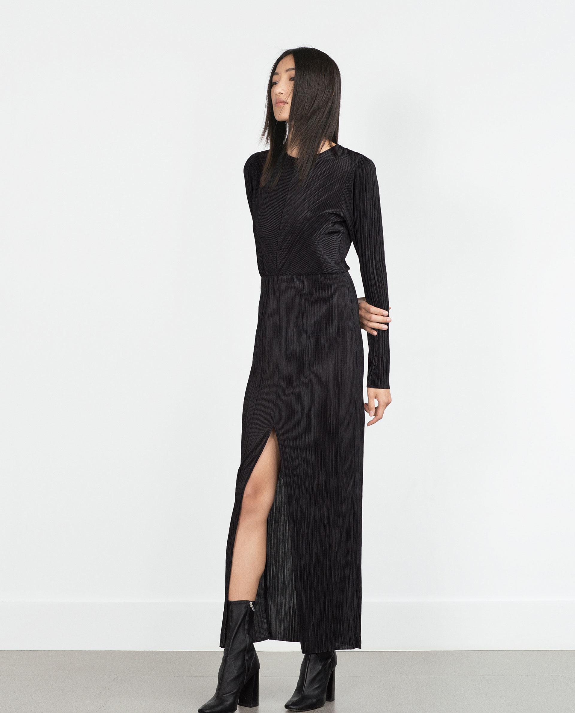 Zara Pleated Dress in Black - Lyst
