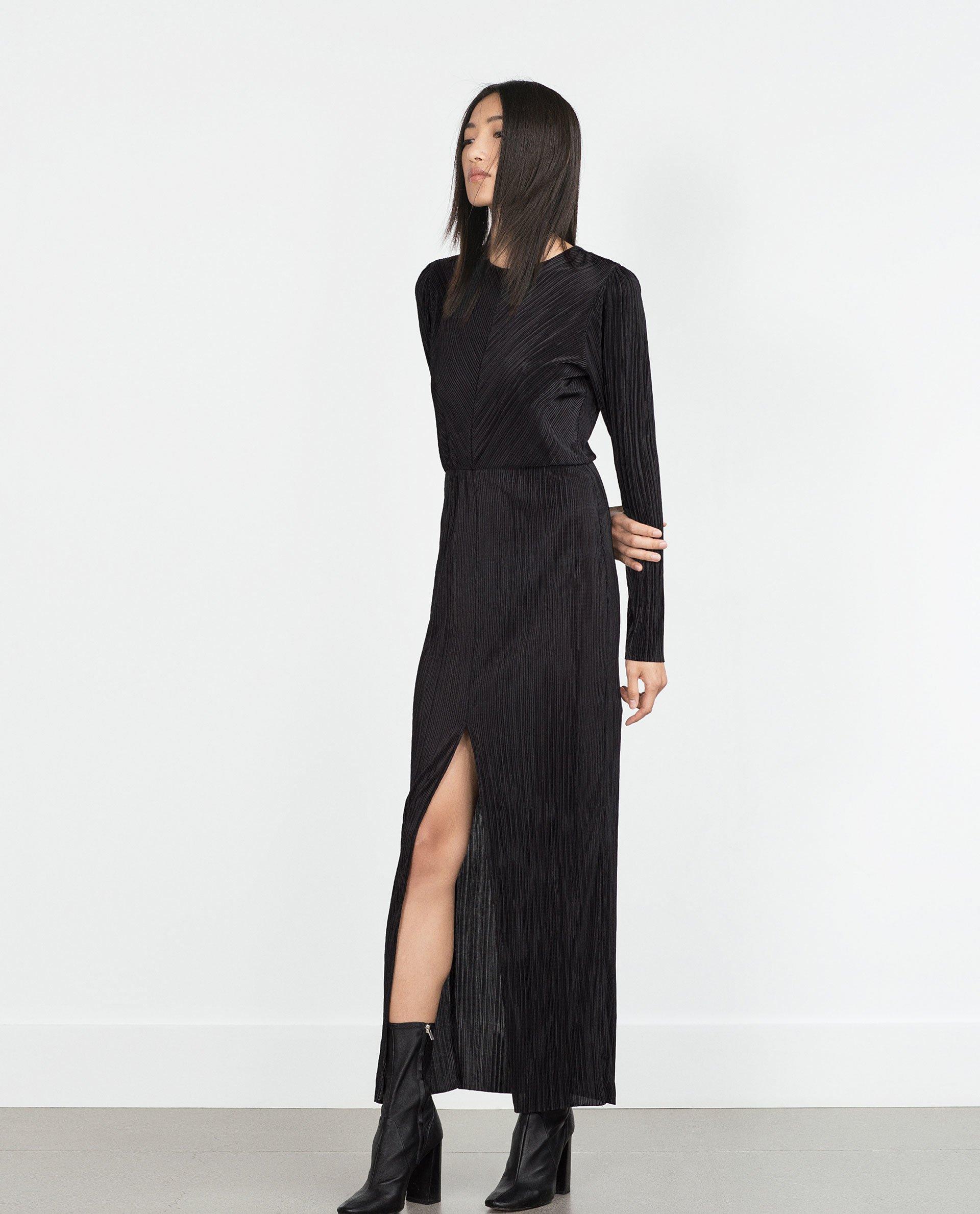 Black Pleated Dress Dress Yp