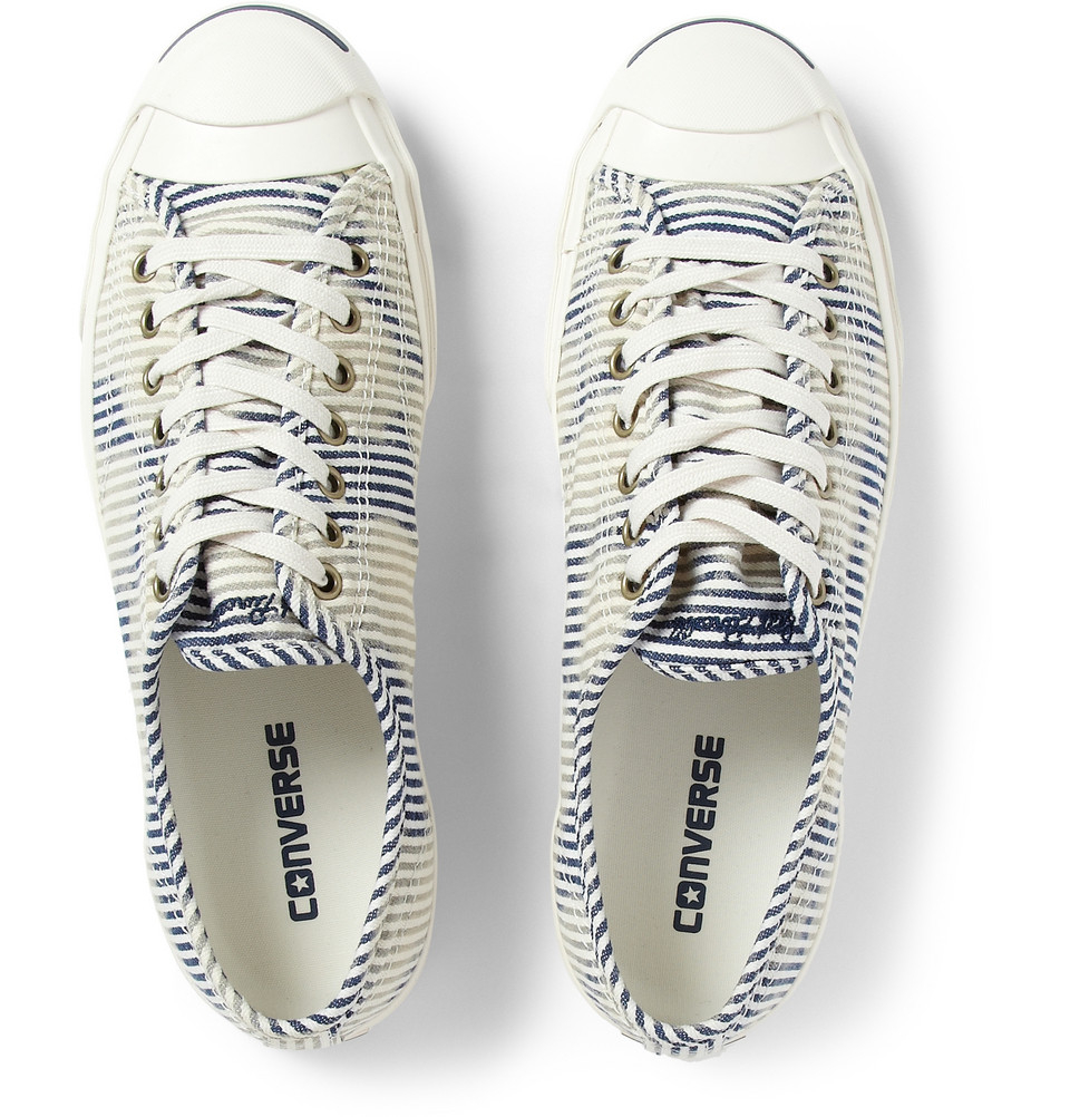 8b0304e3a38d Lyst - Converse Jack Purcell Striped Canvas Sneakers in Blue for Men