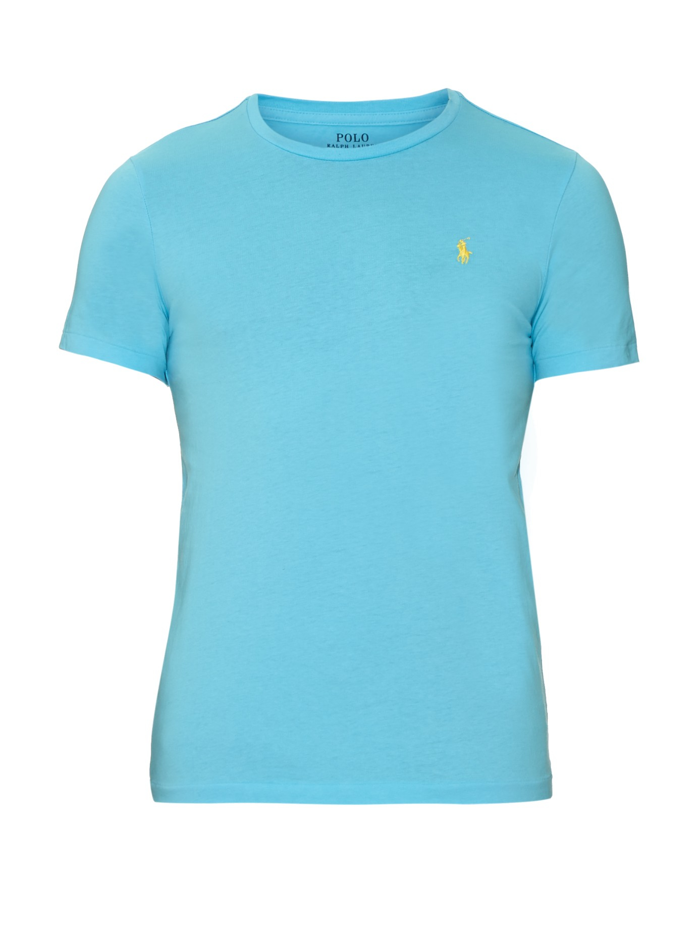 Lyst polo ralph lauren logo embroidered cotton t shirt for Cotton polo shirts with logo