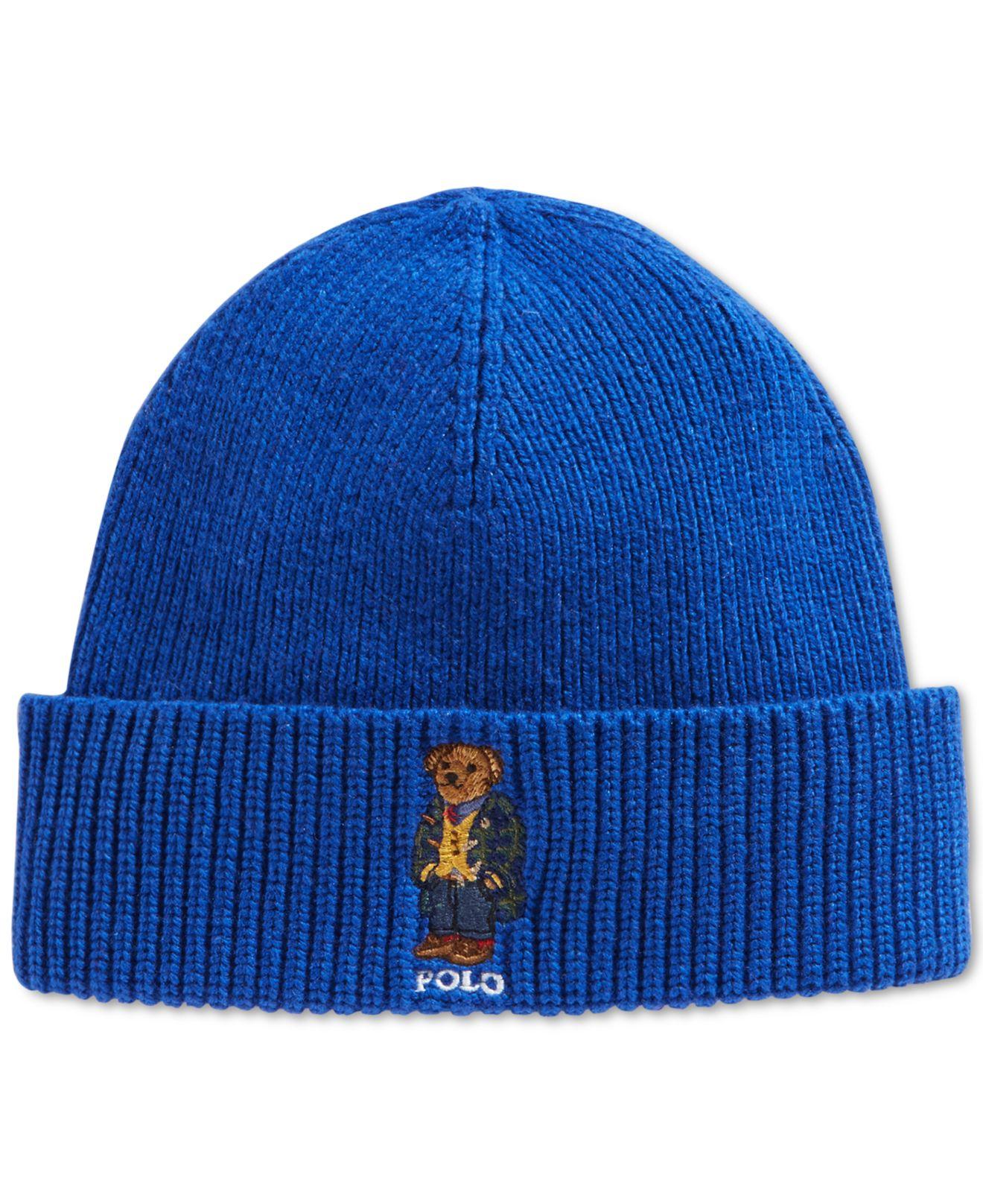 0d71d92509671 Polo Ralph Lauren Blackwatch Bear Beanie in Blue for Men - Lyst