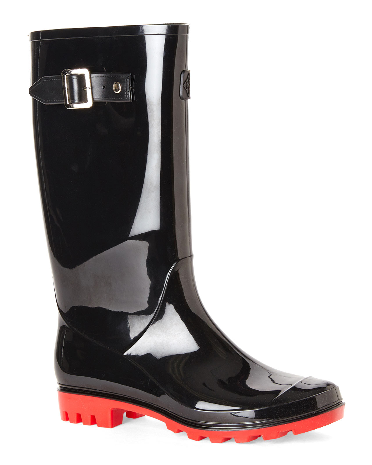 Dav Black & Red Jelly Lug Rain Boots in Black | Lyst